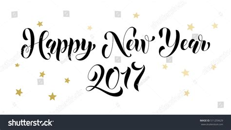 happy new year lettering greeting happy new year 2017 gold lettering stock vector 511259629
