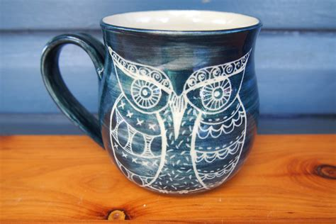 unusual mugs unique coffee mug handmade ceramic coffee mug owl mug blue
