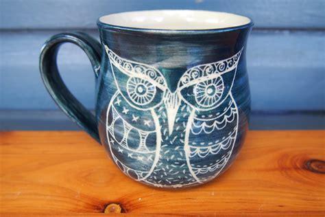 unique coffee unique coffee mug handmade ceramic coffee mug owl mug blue