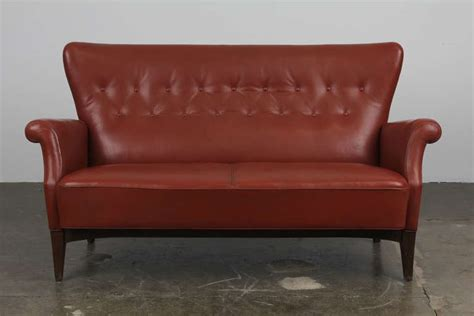 tight back leather sofa danish leather tufted tight back and seat sofa at 1stdibs