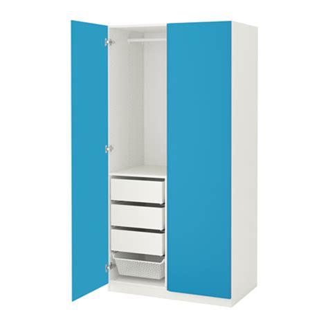 pax wardrobe white vikanes blue 100x60x201 cm ikea