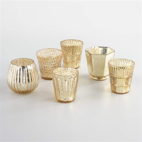 gold votive candle holders gold mercury glass votive candleholders set of 6 world