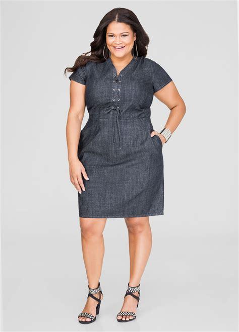 imagenes html size lace up denim dress plus size dresses ashley stewart 010