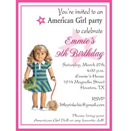 american birthday invitations american doll birthday invitation ideas new ideas