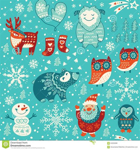 new year decorative elements seamless pattern stock vector image 63036388