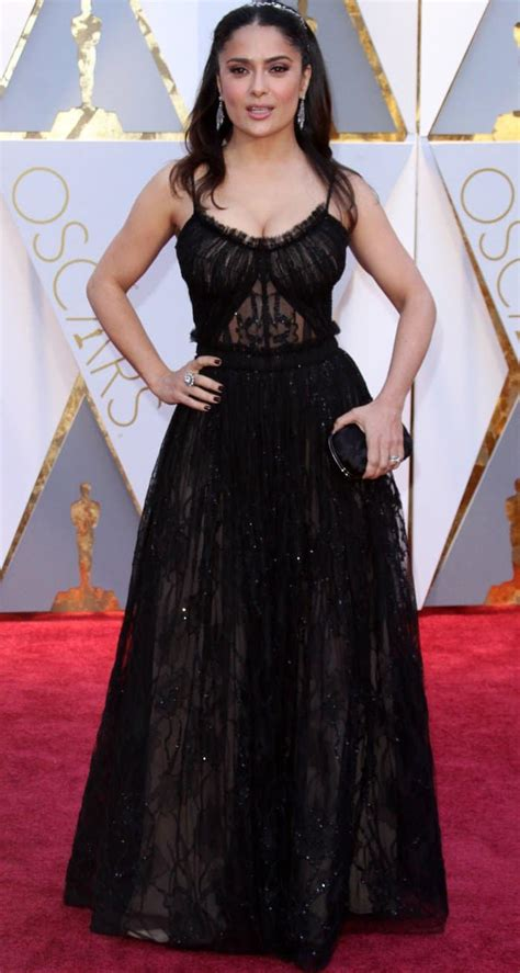 Salma Hayek When Bad Shoes Happen To Dresses by Salma Hayek In Mcqueen At Oscars