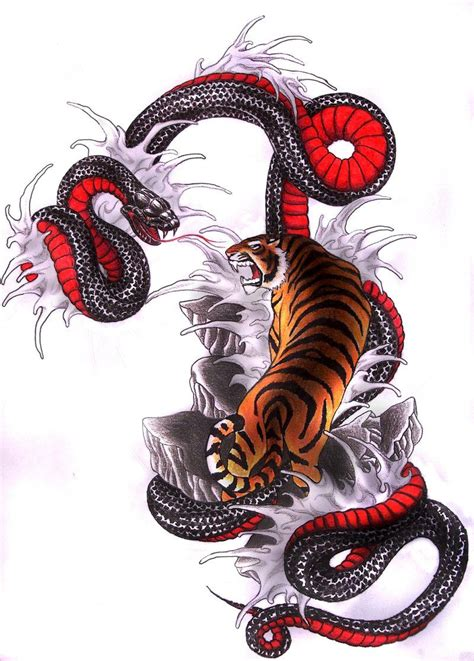 japanese snake tattoos designs japanese snake vs tiger tiger vs snake by clouds94