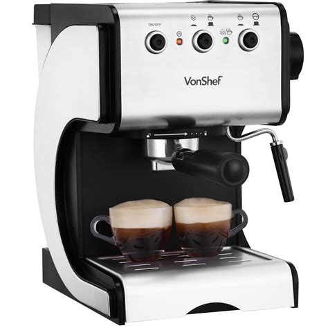 Coffee Maker Machine vonshef premium 15 bar stainless steel espresso cappuccino