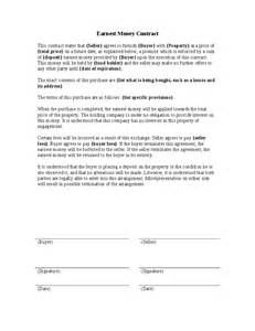 Money Agreement Template by Earnest Money Contract Template 1001 Best Images About