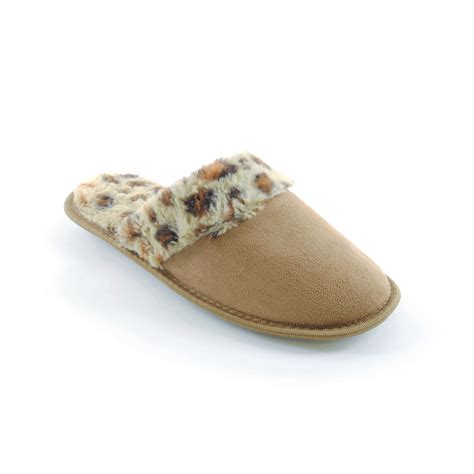 womens leopard slippers womens slip on leopard print slippers with faux fur