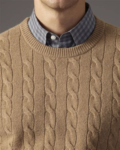 mens cable knit sweaters jaeger camel hair cable knit sweater in for lyst