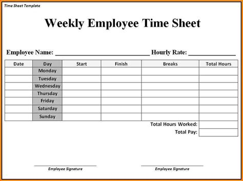 simple weekly time card template free printable time sheets templates aiyin template source