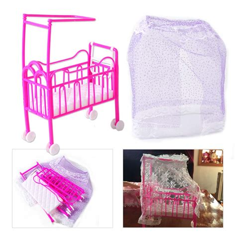barbie doll beds plastic nursery cradle bed miniature dollhouse toy