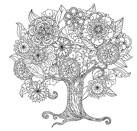 tree coloring tranquil trees coloring book paperme se