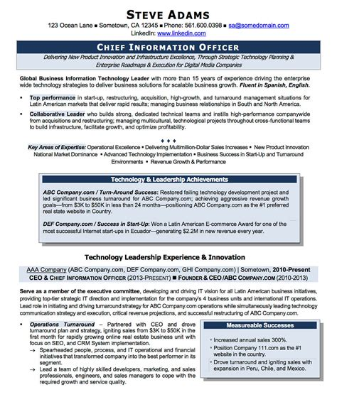 Executive Resume Sles Cio Technology Innovation Executive Resume
