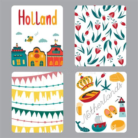 small greeting cards template netherlands set of cards stock vector image 67083697