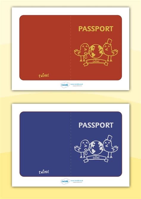 twinkl resources general passport templates