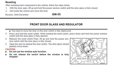 resetting window motor 350z how do you reset power window motor on a 2005 nissan 350z