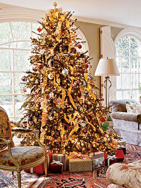gold ribbons on christmas trees decoration part 4 home interior design