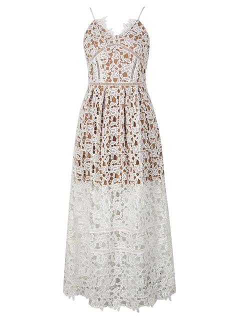 spaghetti lace midi dress white spaghetti crochet lace midi dress choies