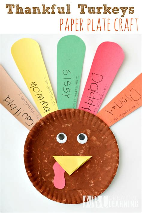 thankful crafts for thankful turkeys paper plate craft abc creative learning