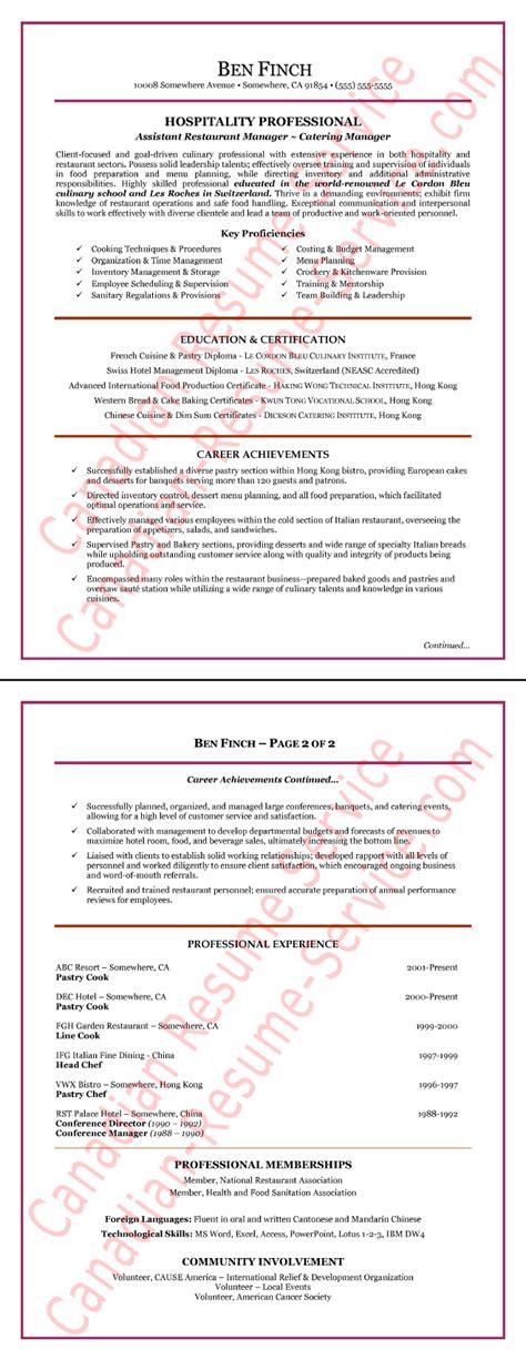 Hospitality Resumes by Restaurant Hospitality Manager Resume Exle Sle
