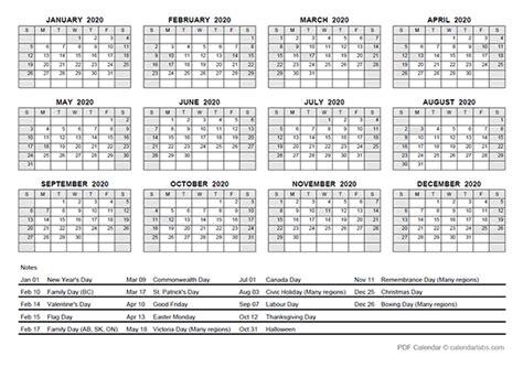 yearly calendar  canada holidays  printable templates