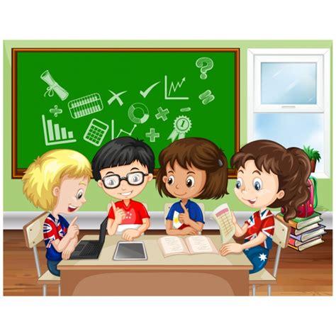 imagenes animadas estudiando ni 241 os estudiando en el colegio descargar vectores premium