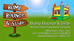 bounce house business cards bump bounce slide rentals