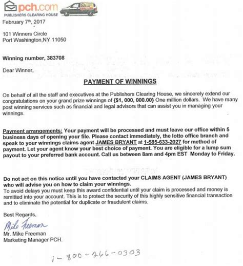 Publishers Clearing House Phone Call - cumberland police dept this letter from publisher s clearing house is a scam