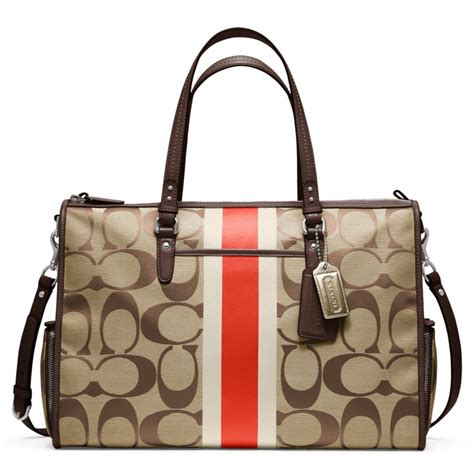 Coach Htons Stripe Medium Purse by Lyst Coach Baby Bag Signature Stripe Zip Tote In