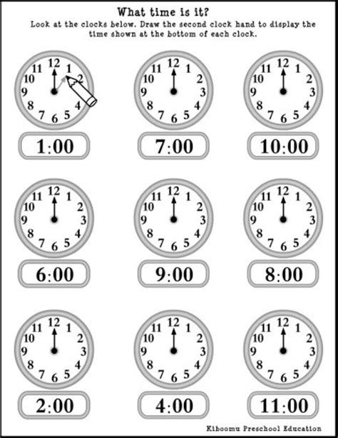 printable clocks to the hour kindergarten clock worksheets kinder pinterest