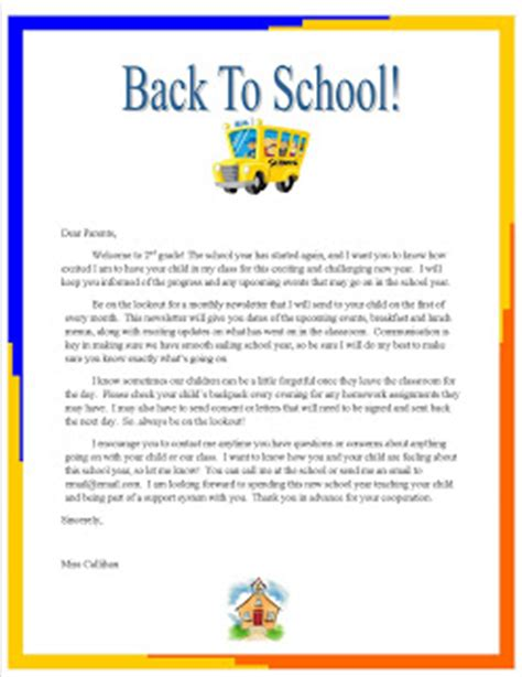 Introduction Letter Welcome Students Back To School Emily S Week 3 Quot Back To School Quot Letter To Parents