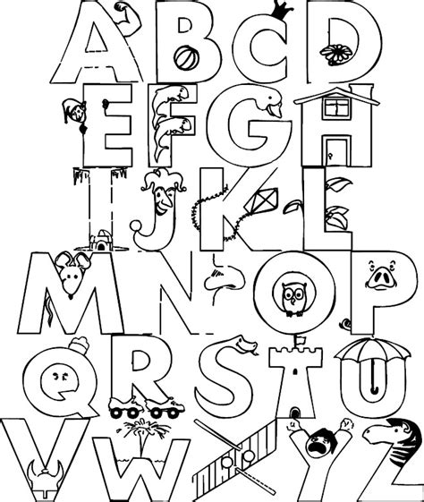Alphabet Color Page Az Coloring Pages