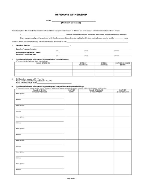 Affidavit Of Heirship 15 Free Templates In Pdf Word Excel Download Affidavit Of Heirship Template