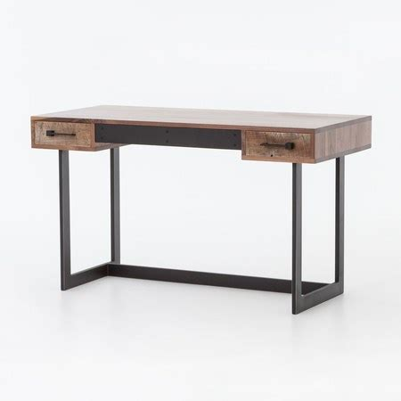 metal wood desk industrial rustic oak wood and metal writing desk