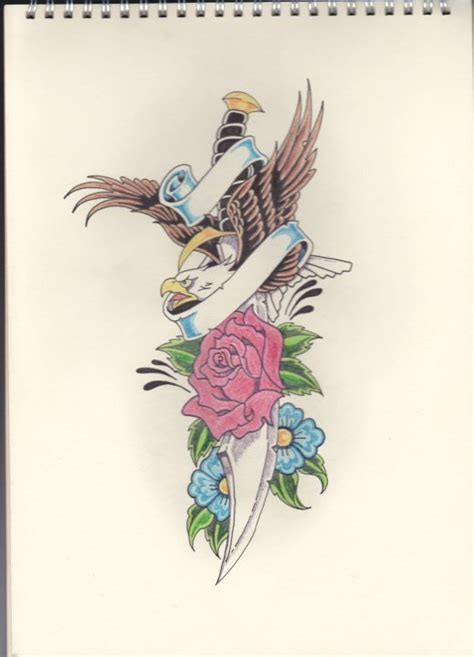 eagle and rose tattoo eagle and dagger by stephen parry on deviantart
