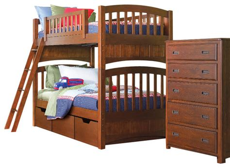 bunk beds set lea dillon 5 bunk bed bedroom set in brown