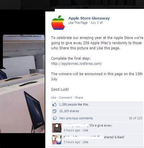 Apple Product Giveaway Facebook - apple imac store products giveaway scam july 2013