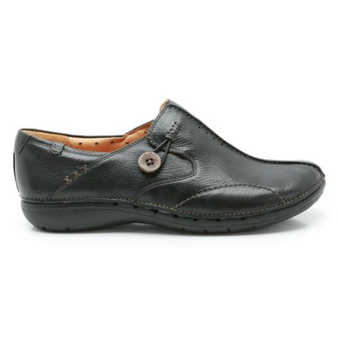 clarks un loop black leather casual shoe