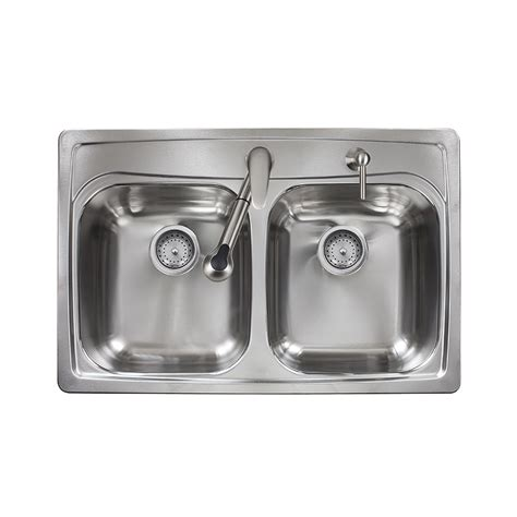 stainless kitchen sinks shop kindred 33 in x 22 in double basin stainless steel