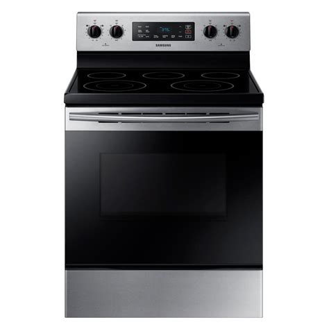 samsung electric range samsung 5 9 cu ft freestanding electric range with self cleaning and 5 burners in stainless