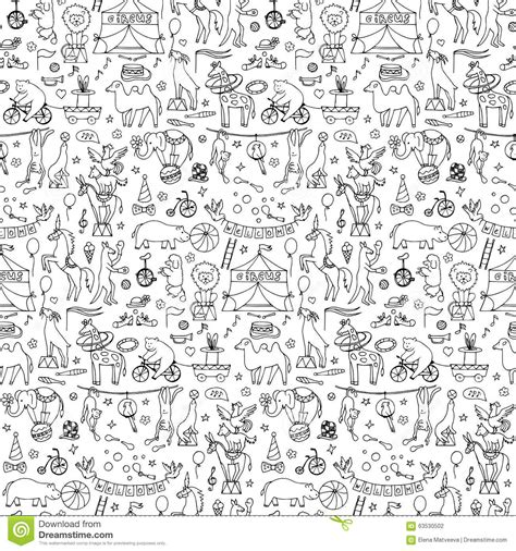 hand drawn wallpaper seamless hand drawn circus animals pattern stock vector