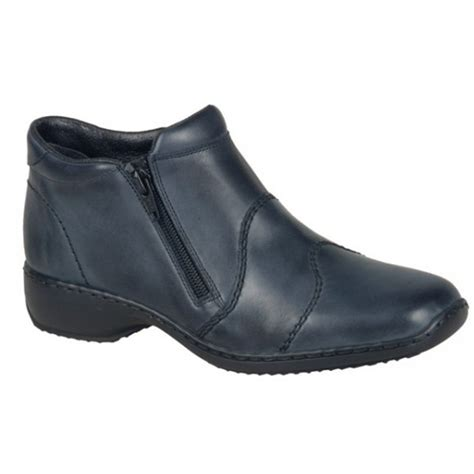 rieker womens cristallin navy zip ankle boot l3892 14 at