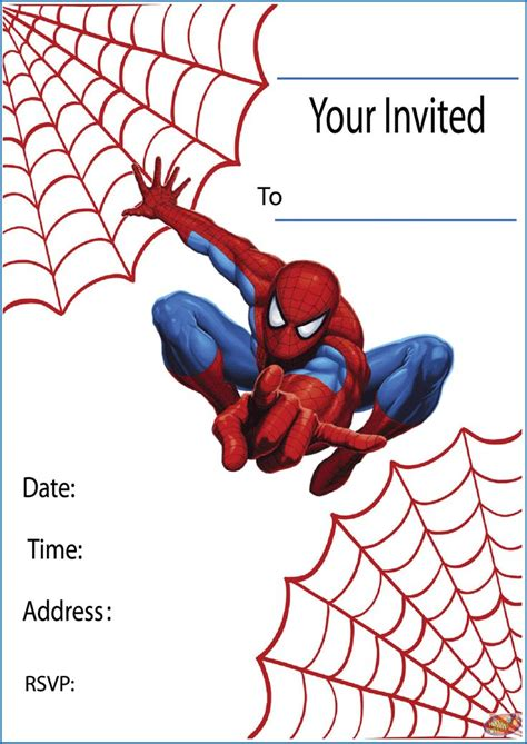 printable birthday cards spiderman free printable spiderman party invitations on www