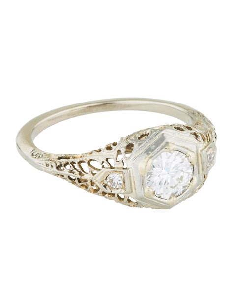 deco engagement rings filigree deco 14k filigree engagement ring rings engri20541 the realreal