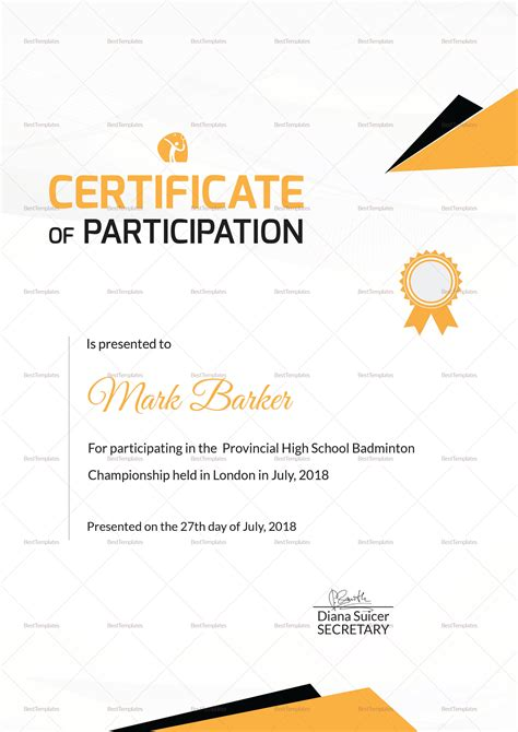 badminton sports certificate design template in psd word