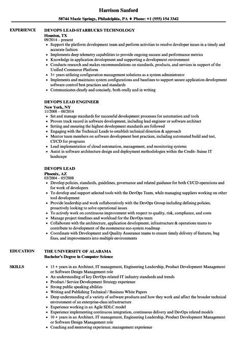 Devops Lead Resume Sles Velvet Jobs Devops Resume Template