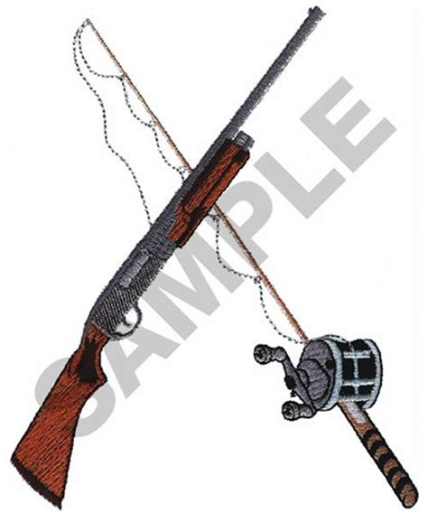hobbies embroidery design shotgun amp fishing pole from