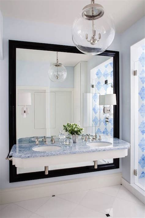 blue marble bathroom white lacquered bath vanity with blue mosaic moroccan